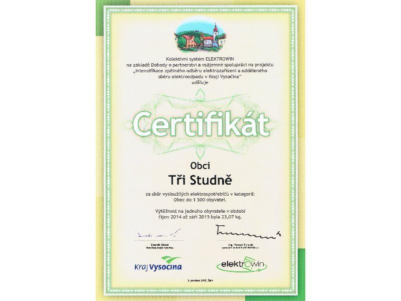 Certifikát za sběr vysloužilých elektrospotřebičů