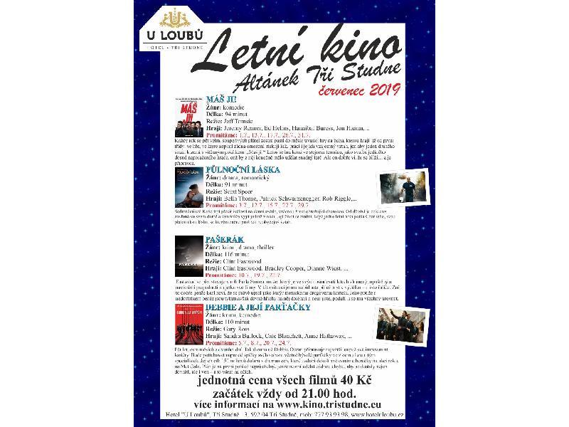 Program letního kina - červenec 2019